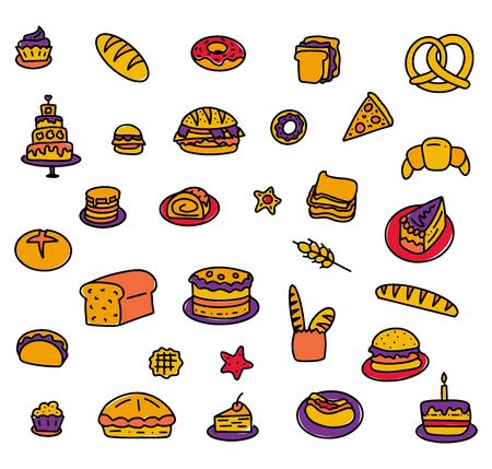 Set of hand drawn multicolored elements for bakers menu. Colored doodle isolated on white background, vector stock illustration. Illustration