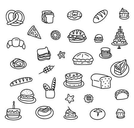 Set of hand drawn elements for bakers menu, vector stock illustration, black doodle isolated on white background.