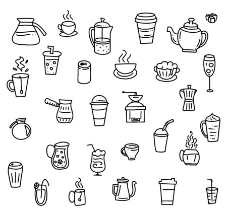 Set of hand drawn elements for cafe or menu, vector stock illustration, black doodle isolated on white background. Çizim