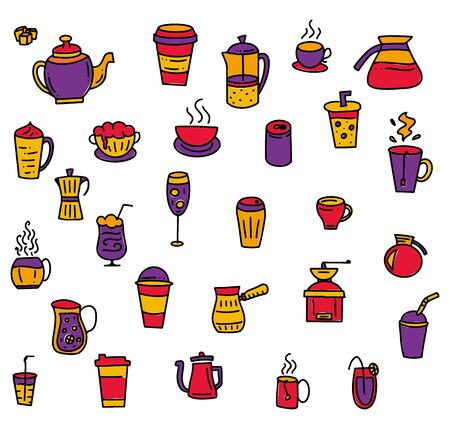 Set of hand drawn multicolored elements for cafe or menu - vector stock illustration - colored doodle isolated on white background.