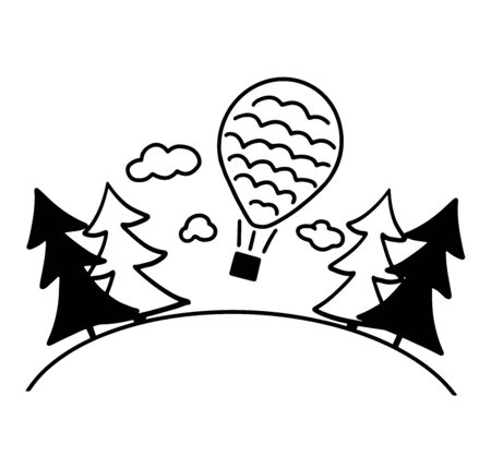 Simple illustration hot air balloon flies over the forest around spruce and clouds. Black sketch isolated on white background.