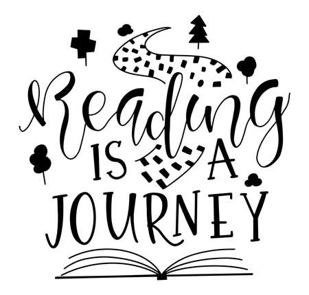 Reading is a journey, sketch book, road, trees and black text isolated on white background, vector stock illustration