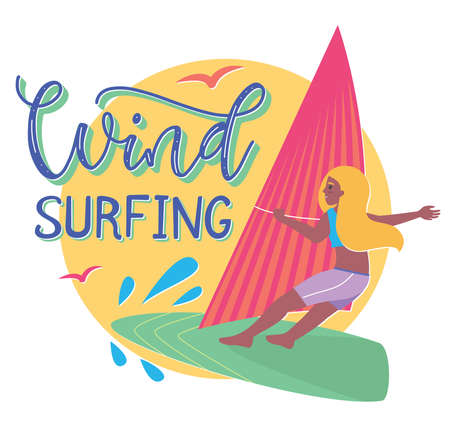 Cartoon girl on windsurfing board, vector Illustration in flat style, summertime template with colored text and sun tanned young happy woman. Stock Illustratie