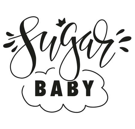 Hand written text Sugar Baby - vector illustration isolated on white background - black text for posters, photo overlays, greeting card, t-shirt print and social media.