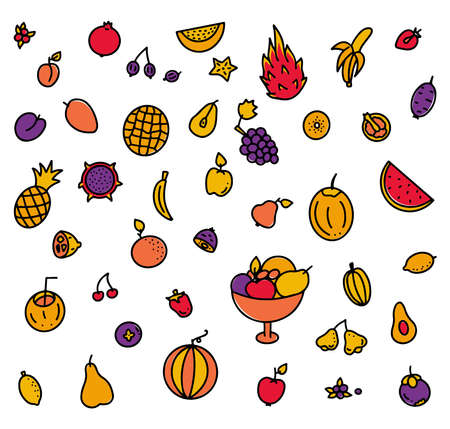 Multicolored set of hand drawn fruits elements for greengrocer or menu, vector stock illustration, colored doodle isolated on white background. Stock Illustratie