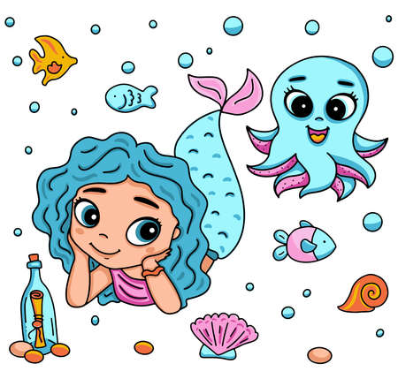 Vector illustration with little mermaid and octopus with big eyes. Marine life cartoon character, fish, snail, shell, bottle with a message