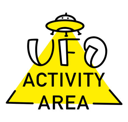 Vector illustration alien invasion with the words UFO activity area - Decorative emblem with a flying saucer, yellow beam and text.