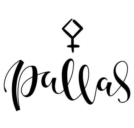 Pallas - astrological symbol and hand drawn lettering. Black vector illustration isolated on white background
