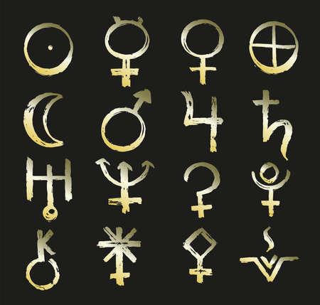 Gold icon of planet in astrology. Vector illustration with sign Mars, Venus, Mercury, Moon, Sun, Jupiter, Saturn, Pluto, Uranus, Neptune, Vesta, Pallas, Juno, Chiron, Ceres Ilustración de vector