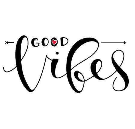 Good vibes only, black text with red heart isolated on white background. Lettering for posters, photo overlays, greeting card, t shirt print and social media. 向量圖像