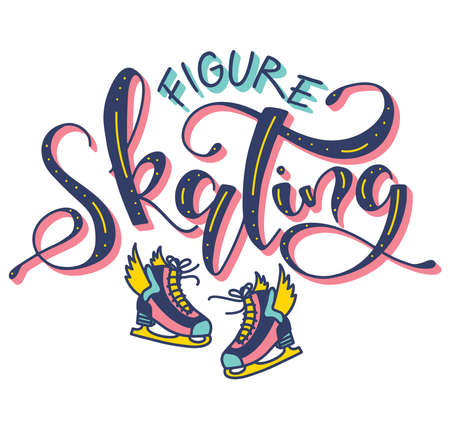 Figure skating colored lettering, vector illustration with text and multicolored doodle ice skates. Fun calligraphy for posters, photo overlays, greeting card, t shirt print and social media.