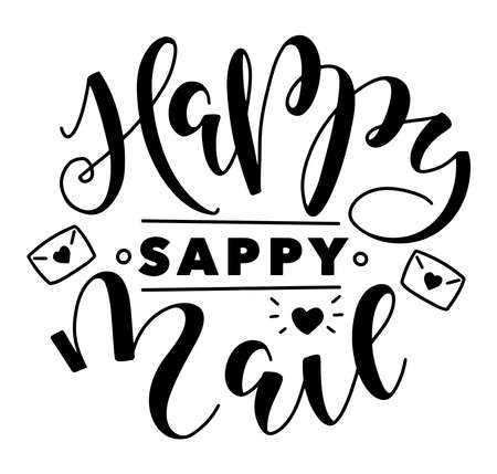 Happy sappy mail, black lettering with doodle envelope isolated on white background, vector illustration. Vektorgrafik