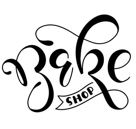 Bakeshop, black lettering isolated on white background, vector stock illustration for bakery, bistro, cafe