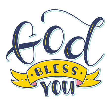 God Bless You - Christian calligraphy. Religious lettering, colored vector illustration isolated on white background