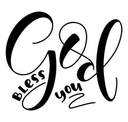God Bless You - Vector illustration with Christian calligraphy. Religious lettering, black text isolated on white background.