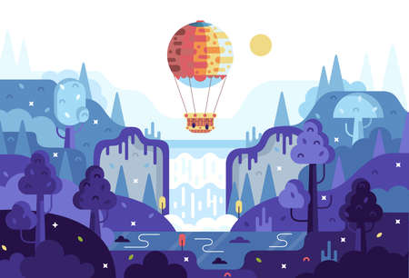 Vector cartoon 2d illustration in flat cartoon stile - panorama with waterfall, hot air balloon, forest and lake