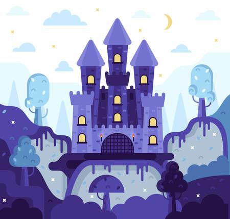 Fairytale castle on the mountain, moon and stars overhead, trees and hills below - vector cartoon illustration Vecteurs