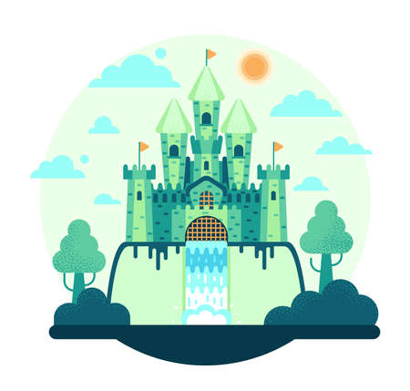 Awesome fairytale castle on backgrounds - vector illustration in flat cartoon stile