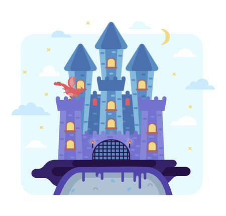 Vector cartoon illustration castle on the rock and the red dragon - night fairy tale picture