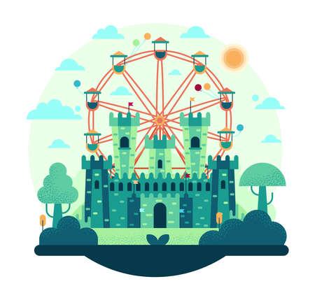 Ferris wheel spinning flat cartoon vector illustration - Amusement park with fairy tale castle Vecteurs