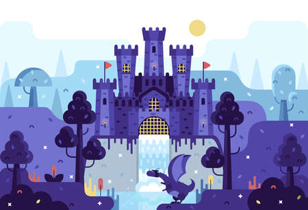 Vector cartoon illustration - medieval castle on a rock, a dragon sits by a waterfall