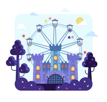 Flat cartoon vector illustration with ferris wheel spinning - Amusement park with fairy tale castle.