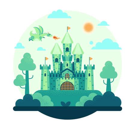 Vector cartoon illustration of a green dragon flies over the castle