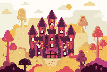 Fairytale castle with 5 towers entwined with grapes - Vector illustration in flat game design stile