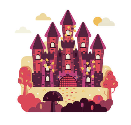 Fairytale castle with 5 towers entwined with grapes - Vector illustration in flat game design stile, square illustration