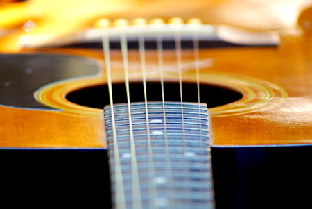 Selective focus picture parts of acoustics guitar resting in garden background with soft light in the morning, closeup abstract soft focus background Stock Photo