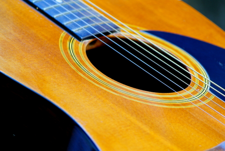 Selective focus picture parts of acoustics guitar resting in garden background with soft light in the morning, closeup abstract soft focus background Imagens