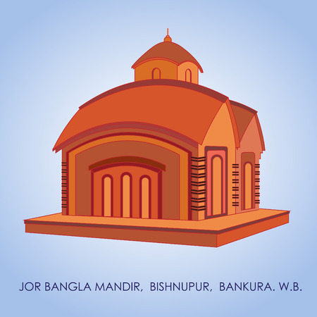 Bishnupur Jor-Bangla Temple built by King Raghunath Singha Dev II. The ornate terracotta carvings are set off by the roof in the classic chala style of Bengal. Jor-bangla Temple is also known as Yorubangala