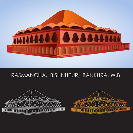The Rasmancha or Raasmoncho is a historical building located at Bishnupur, Bankura district, West Bengal, India. It was commissioned by Mallabhum king Hambir Malla Dev (Bir Hambir) in 1600 CE. Ilustração