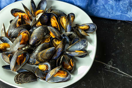 Delicious fresh steamed mussels in white wine sauce in a white plate on a dark gray background 免版税图像