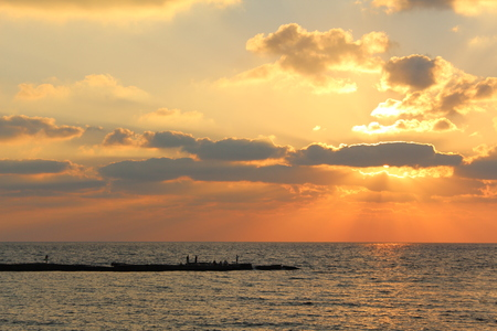 Sunset in the beach of Caesarea, Israel