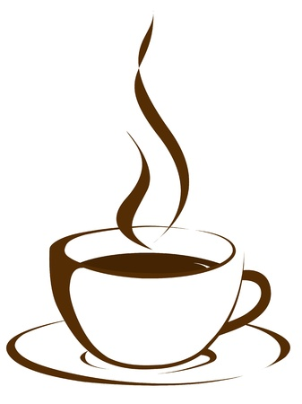 steaming: Cup of coffee on brown background  Stock Photo
