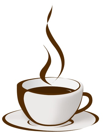 steaming coffee: Cup of coffee on brown background  Stock Photo