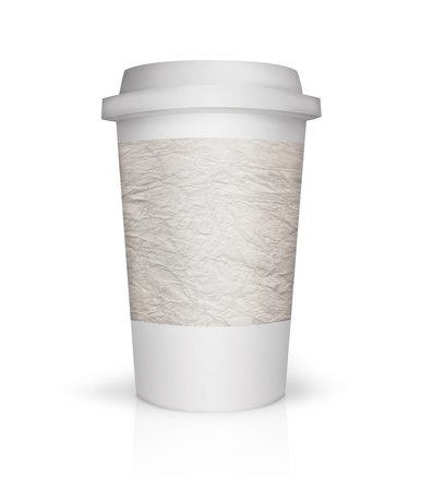 Paper coffee cup illustration with place to put text