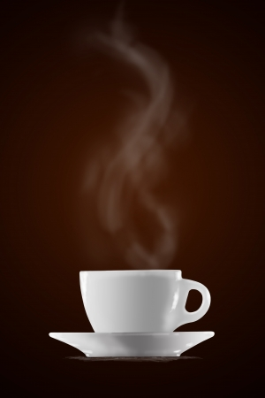dish: Cup of coffee on brown background  Stock Photo