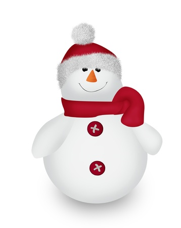 Funny Christmas Snowman wearing a hat and a scarf