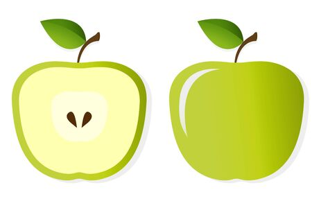 Illustration of two halfs of an apple isolated on white background  illustration