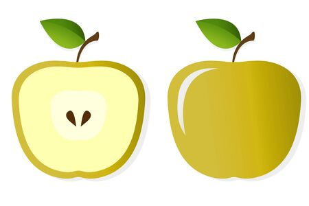 Illustration of two halfs of an apple isolated on white background