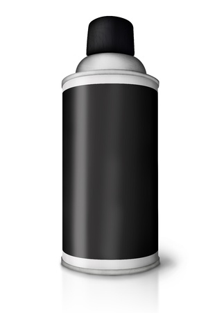 gas cylinder: Blank spray paint can over white background