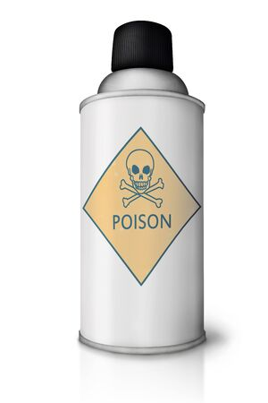 gas cylinder: Blank spray can with poison sign and reflection on white background Stock Photo