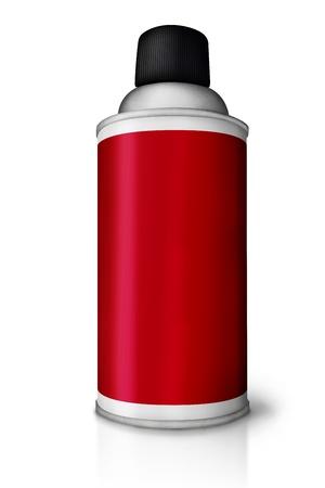 Blank spray paint in red can over white background