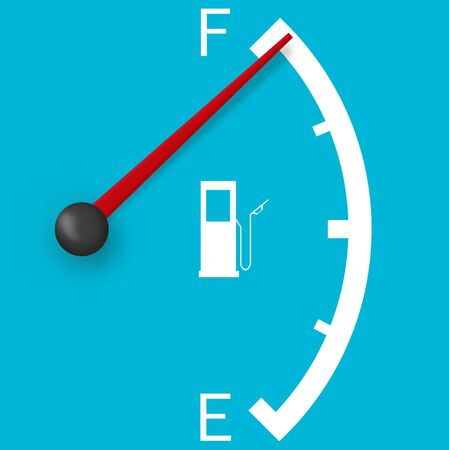 High fuel sign isolated on a pale blue background