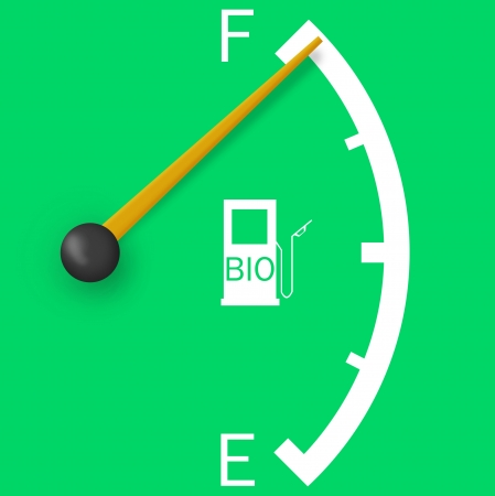 High fuel sign isolated on a bright green background photo