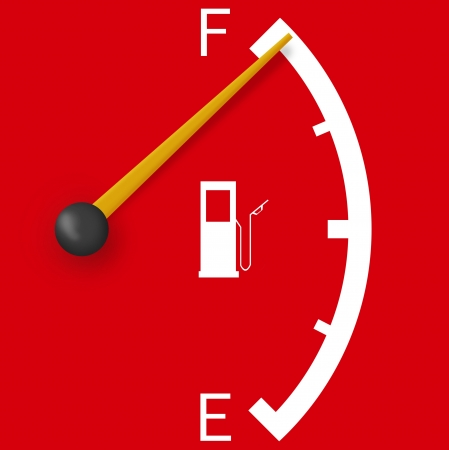 High fuel sign isolated on a bright red background Stock Photo - 16415129