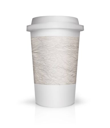 polystyrene: Paper coffee cup illustration with place to put text