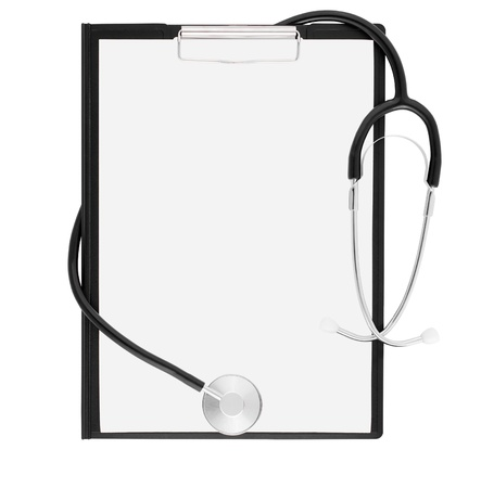 Medical stethoscope and clipboard isolated on white
